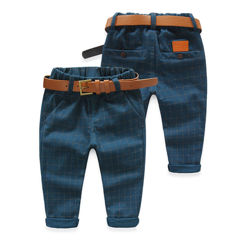 2016 Spring Plaid Children S Male Child Clothing Baby Boy Casual Leather Patchwork Pocket Pants Long