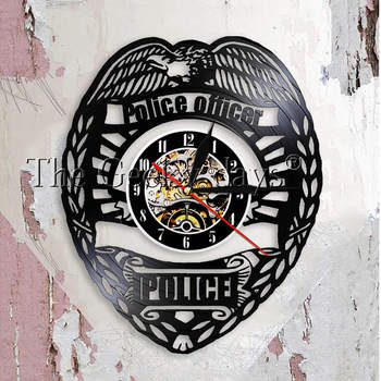 Policier Horloge Murale Police Badge Disque Vinyle Horloge Murale Police Station Décoratif Horloge Montre Policiers Cadeau de Retraite