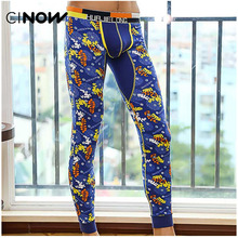Free Shipping New male underwear cotton print basic Cotton Thermal Underwear Bottom Long Johns Underpants Leggings Tights