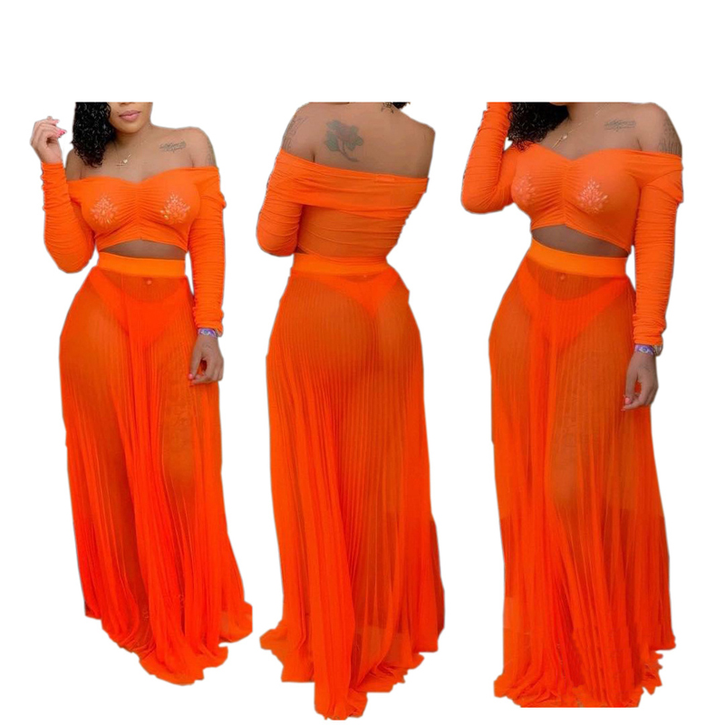 2PCS/SET See through Mesh Beach Cover ups 2019 summer women off shoulder Tops+long skirts Bikini swimsuit cover up sets