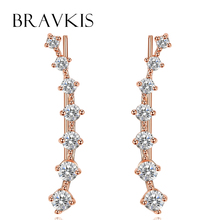 BRAVKIS, Кристальные серьги-наручники, заколки, клипсы для Пирсинга Ушей, серьги-гвоздики для женщин, Букле д 'Орель, brinco mujer BUE0197