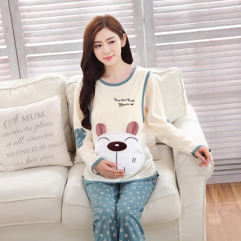 Autumn Nightgown Pajama Sets for Pregnant Women Mothers Breastfeeding Fashion Sleepwear Animal Cute Bear Maternity Nursing Sets