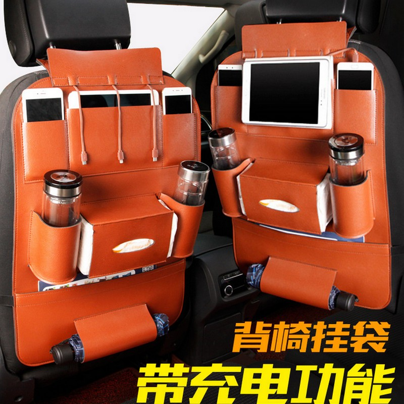 New seat bag with wires for ipad iphone charge Car Auto Seat Back Bag Organizer Holder Multi-Pocket Travel Storage Hanging Bag accessories new new for porsche macan 2014 2015 2016 front central car seat seam storage box holder