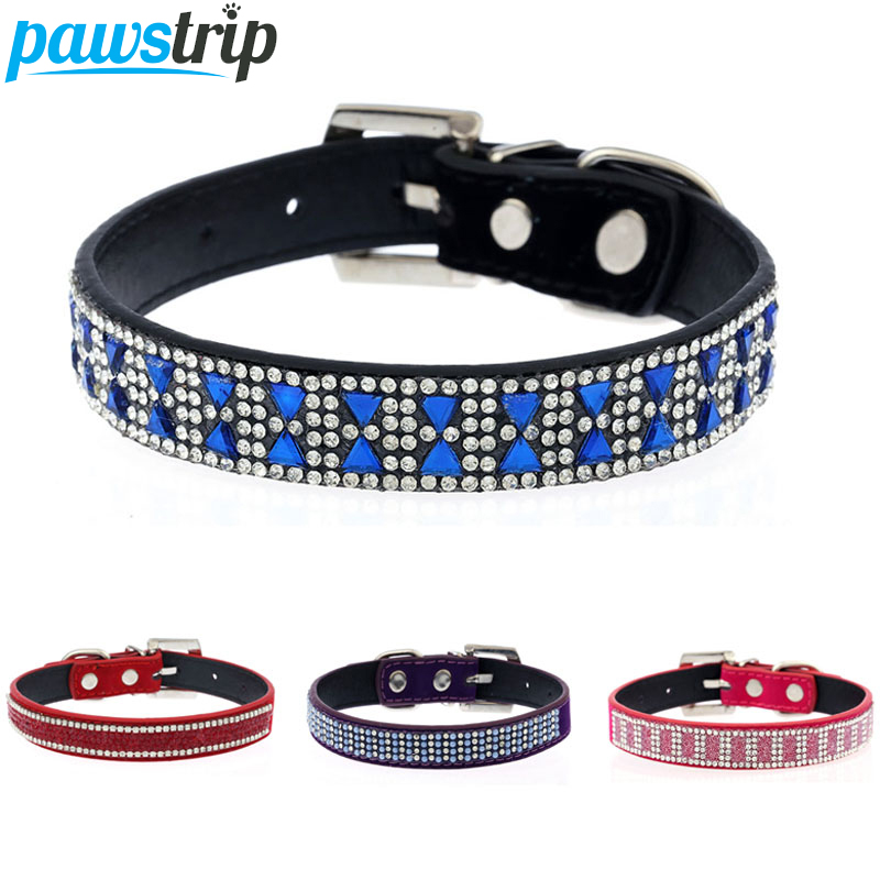 Rhinestone Studded Bling font b Pet b font Dog Collar Soft Suede PU Leather Puppy Cat