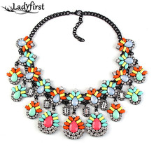 2016 New Spring Colorful Resin Flower Acrylic Crystal Necklace & Pendants Vintage Luxury Maxi Statement Necklace Collar  2345