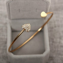 Hot New Fashion adjustable Crystal Double Heart Bow bilezik Cuff Opening Bracelet Women Jewelry Gift mujer pulseras(China)