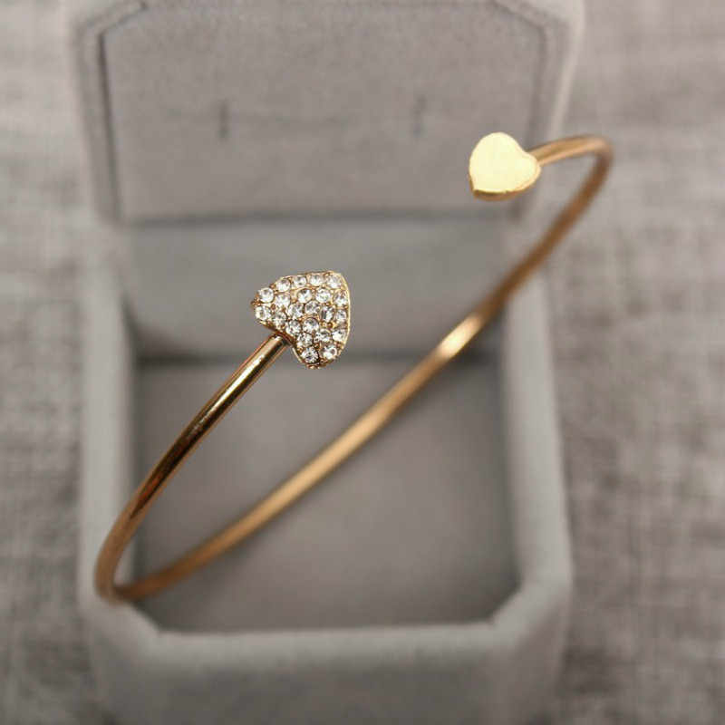 Hot New Fashion adjustable Crystal Double Heart Bow bilezik Cuff Opening Bracelet Women Jewelry Gift mujer pulseras