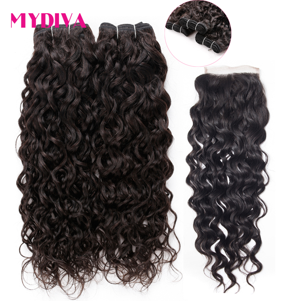 Water Wave Bundles With Closure Brazilian Hair Weave 3 Bundles Non Remy Human Hair Extensions With Closure Brazilian Water Wave