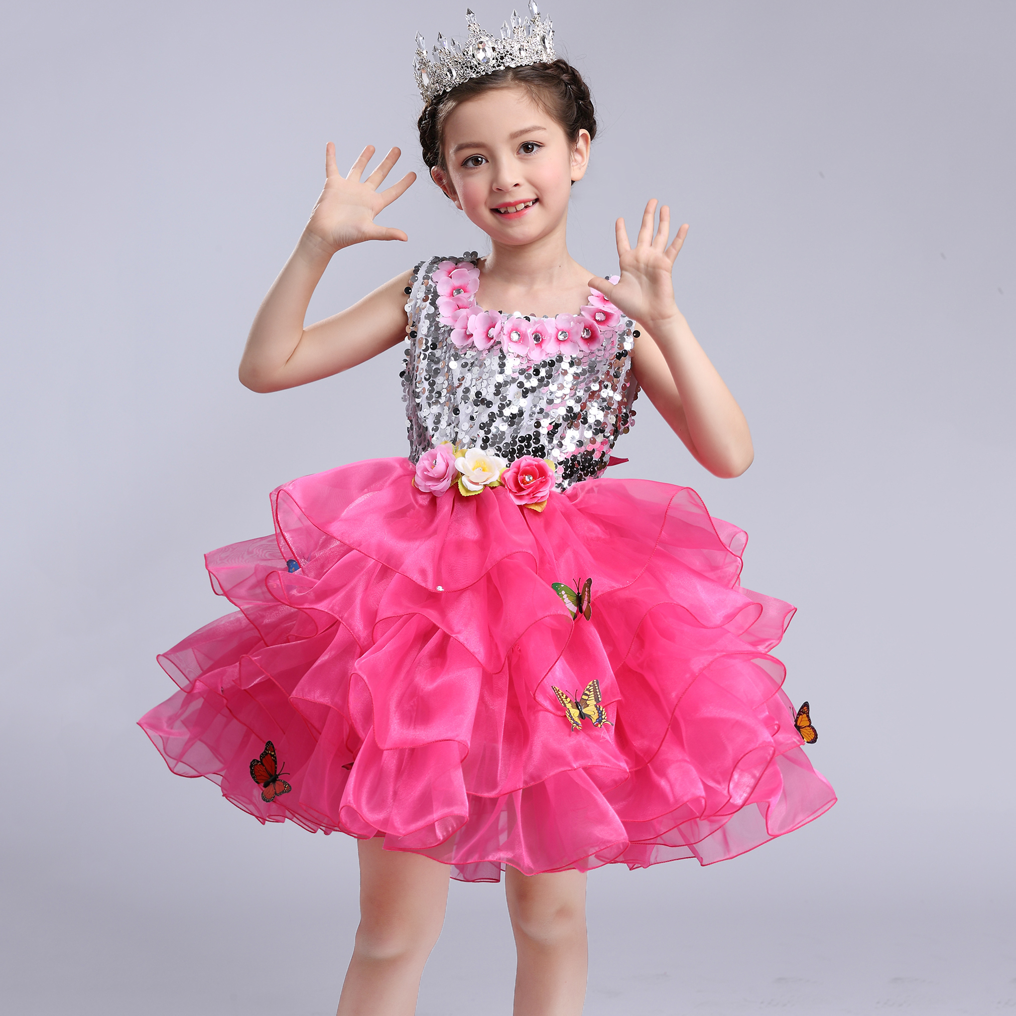 Fashion Shiny Sequined Butterflies Ball Dance Performance Clothes Carnaval Costumes for Kids Children Dresses Girls New 2017 4pcs new for ball uff bes m18mg noc80b s04g