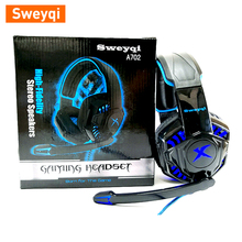 Sweyqi A702 Gaming Headset For Xbox one PS4 Over-Ear Headphones with Noise Canceling Mic,Bass Surround Soft Memory Earmuffs