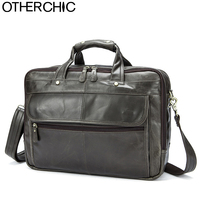 OTHERCHIC 3 Layers Brand Portfolios Briefcase Genuine Leather Business Bag Vintage Men Messenger Bags Lawyer Handbags