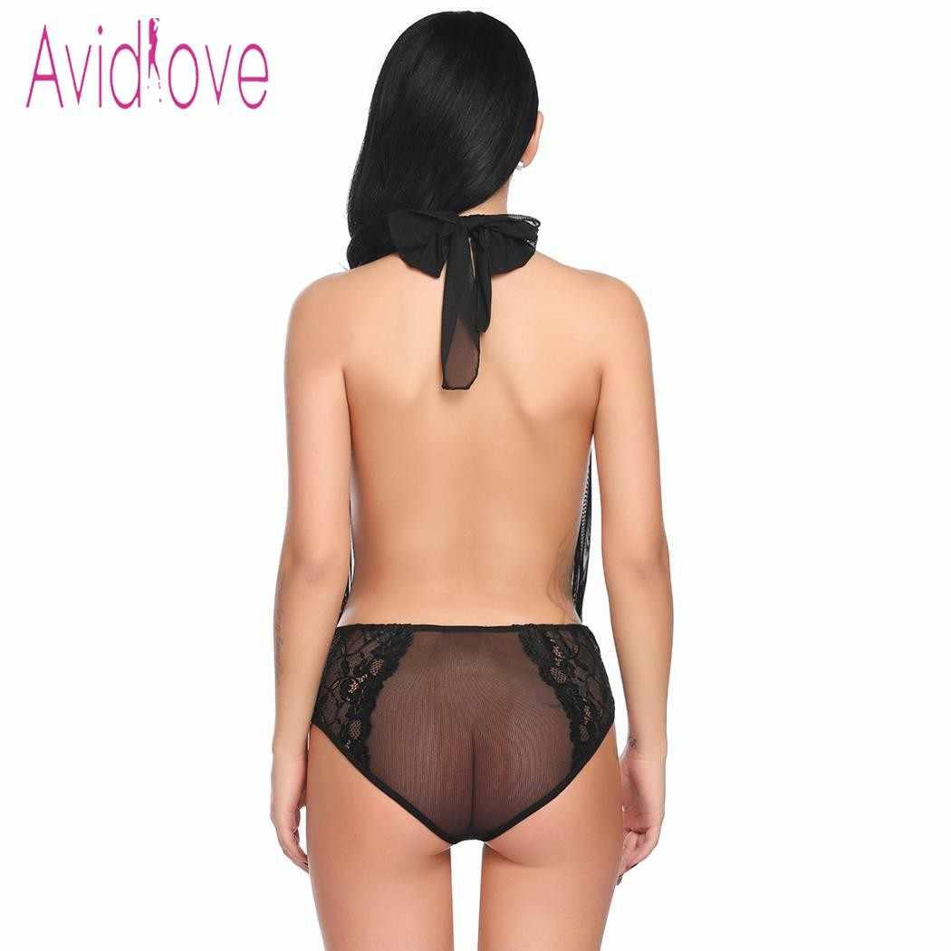 Avidlove 2018 nouvelle Lingerie Sexy sous-vêtements érotiques chaude femmes Teddy profond à lacets V licou dentelle corps Costume sexe Costume Porno vêtements