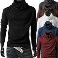 Heap gola da camisola dos homens venda quente inverno quente sólidos inferior manga longa nova marca camisa pullover masculino clothing z15