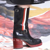 2018 Runway Newest Luxury Design Buckle Belt Women Boots Red White Gingham Stripes Wood Square Heel Knee High Ladies Shoes