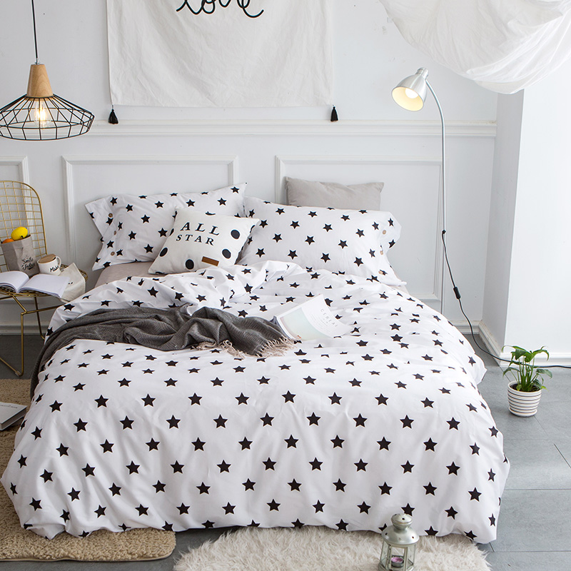 White Blue Red Black Star Bedclothes Adults Girls 100