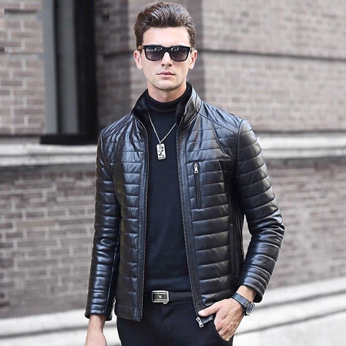 Men Genuine Leather Sheepskin Duck Down Coat Male Stand Collar Jacket 2016 Winter Black Plus Oversized XXXXXL 2XL 3XL 4XL 5XL
