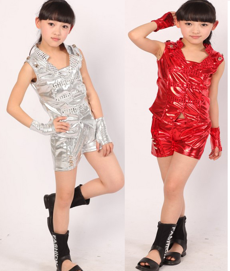 Free shipping,red silver cool children girl boy performance flashing  Hip hop Jazz modern dance suit costume pants gloves