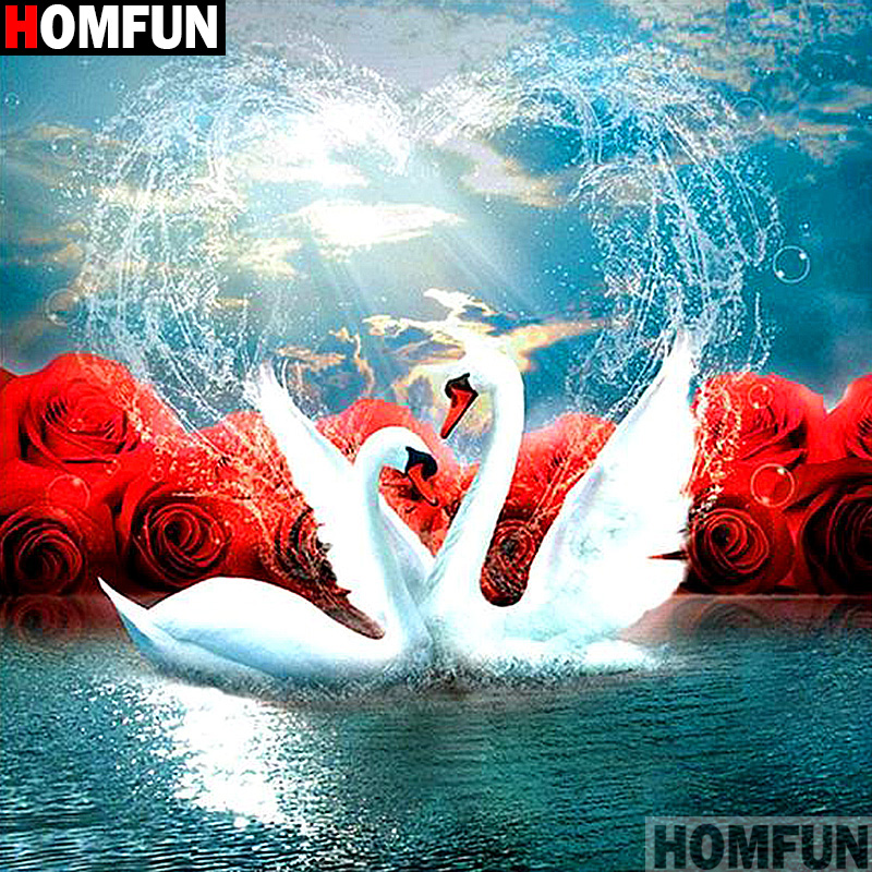 """HOMFUN Full Square/Round Drill 5D DIY Diamond Painting """"White Swan"""" 3D Embroidery Cross Stitch 5D Decor Gift A13289"""