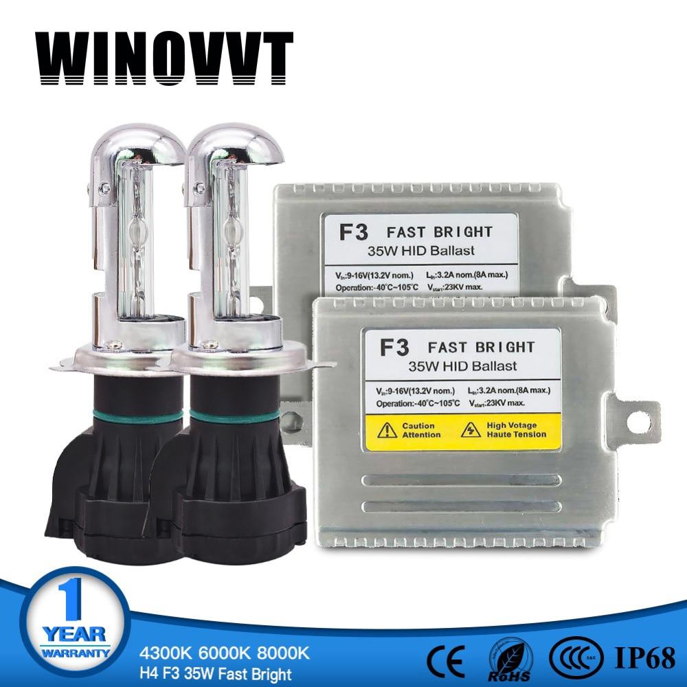 H4 ampoule à néon H4 haut bas Rapide lumineux 35 w F3 H4-3 XENON kit hid 4300 k 6000 k 8000 k hid bi xenon h4 8000 k