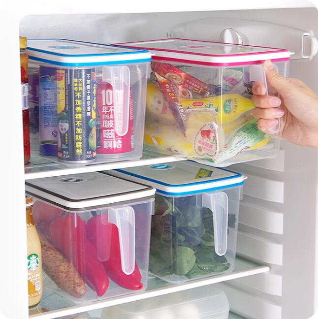 Refrigerator Organizer With Handle Plastic Sealed Jar Kitchen Cabinet Storage Box