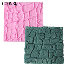 GOONBQ 1 pc Dry Wall Formas Cake Mold Silicone Castle Stone Bark Chocolate Mold DIY Fondant Cake Decoration Mould