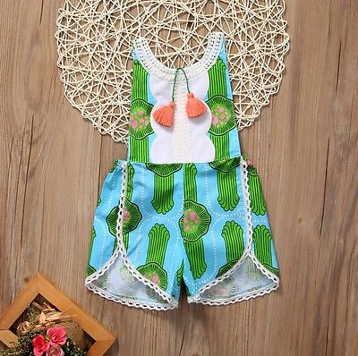 Toddler Baby Girl Clothes Summer Sleeveless Cotton Print Tassles Backless Cactus Romper Jumper Jumpsuit Sunsuit Baby Clothes