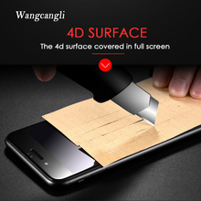 wangcangli 4D Screen Protector Round Curved Edge Tempered Full Cover on the for iPhone X 8 7 6  6S Plus Protective Film protecti