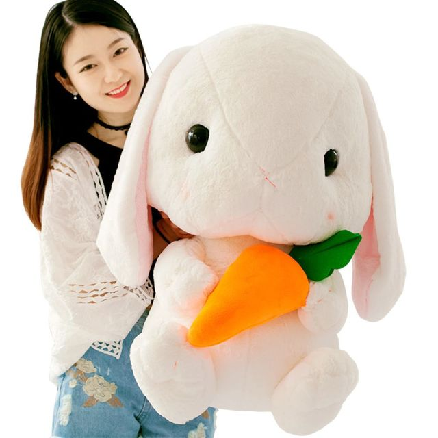 Fancytrader Big Huge Plush Bunny Plush Toy 75cm Giant Cartoon Anime Stuffed Rabbit with Carrot Doll Toys for Children Christmas