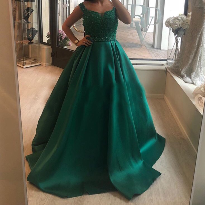 Custom Made Dark Green Long   Prom     Dress   Appliques Beaded Puffy Ball Gown Women Formal Party   Dress   Floor Length Robe De Soiree New