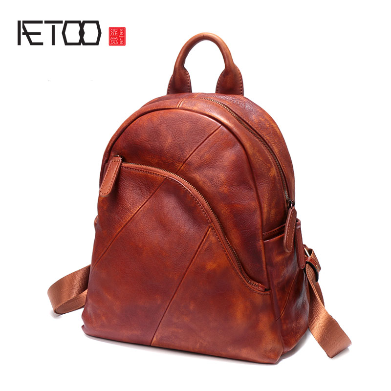 AETOO New leather female shoulder bag hand-colored retro leather female backpack leisure wild travel bag aetoo original new backpack female cowhide leather casual retro art wild female backpack female bag personality