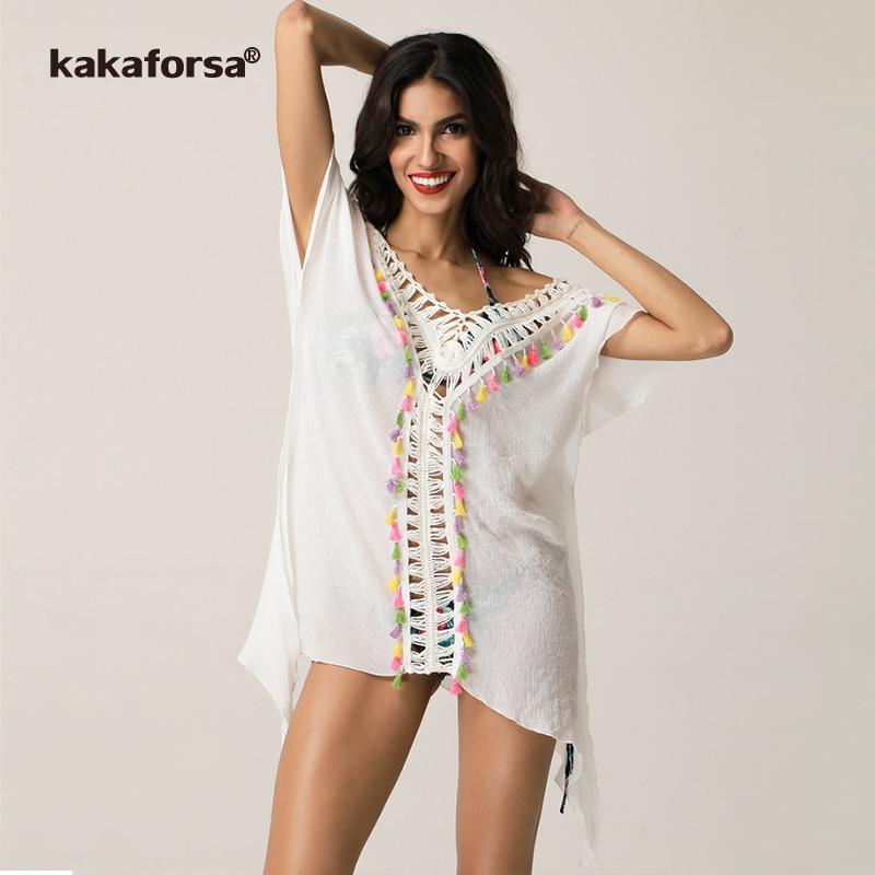 kakaforsa 2018 pareo crochet beach cover up tassel solid robe de plage beachwear sexy backless