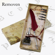 Vintage Feather quill Dip Pen Gift Box Set with 6pcs Nibs penholder Luxury Pens for Writing