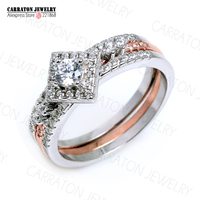 RSZY2049 Grade AAA CZ Diamond 100 925 Sterling Silver Jewellery Sparkling Shining Engagement Two Tones Bridal