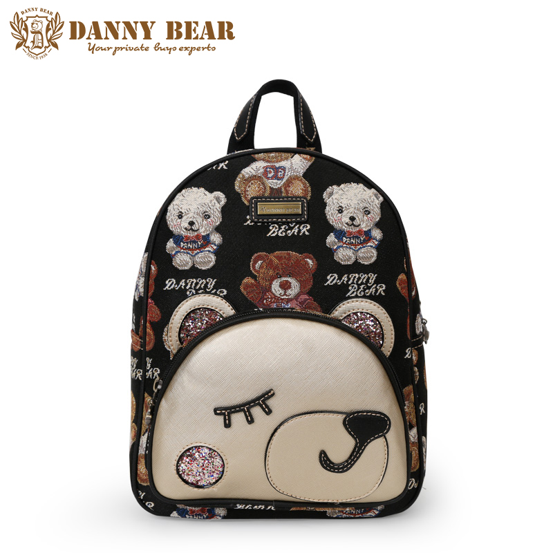 DANNY BEAR Women Large Backpacks Brand Designers Female Backpack Black Cute Bear Pattern Shoulder Daypack Laptop Back Pack Bags цепочка john richmond цепочка page 2