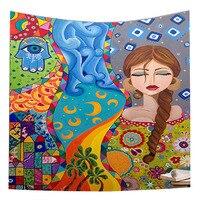 Hamsa Hand Wall Tapestry Evil Eye Printed Colorful Fatima Wall Hanging Wall Hanging Bohemian Tapestry