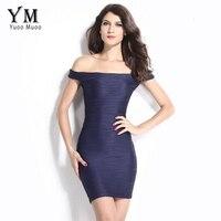 YuooMuoo Sexy Club Dress Women Dark Blue Wrap Dress Summer Slash Neck Sheath Women Mini Bodycon
