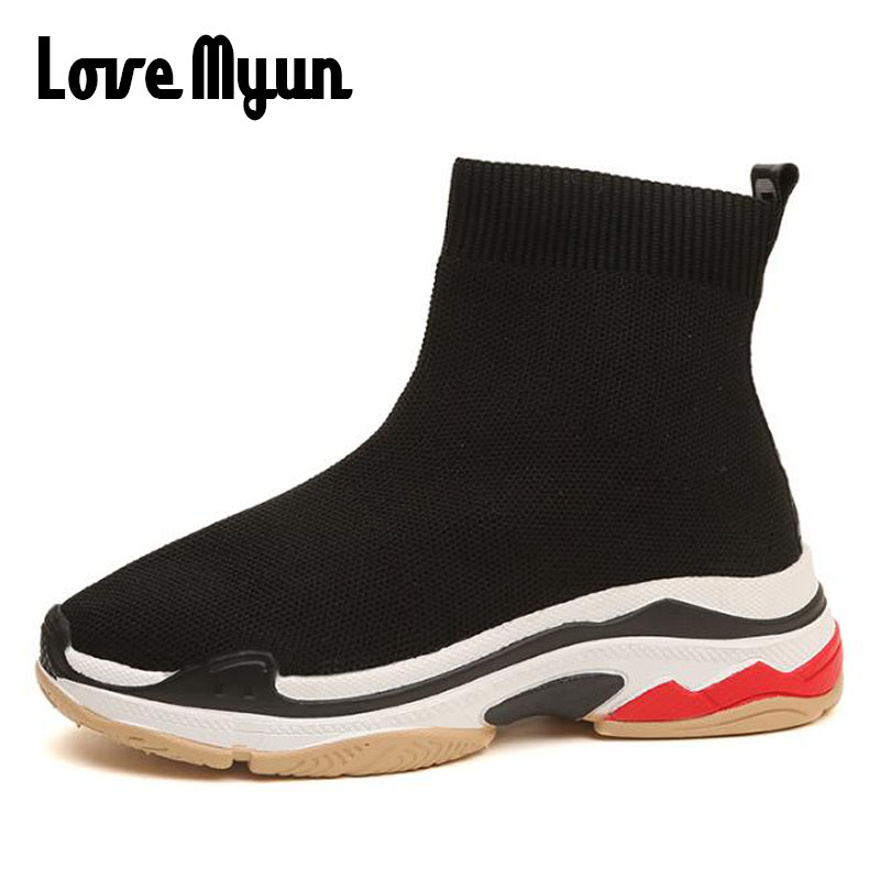 Breathable Summer Women high top Socks Sneakers Casual Shoes Elasticity Wedge Platform Women Sock Boots Shoes KK-63