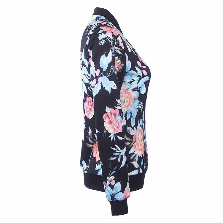 Kwiat Drukuj Kobiety Podstawowe Płaszcze Długim Rękawem Zipper Bomber Jacket Casual Kurtka Płaszcz Jesień Zima Streetwear sukajan 20