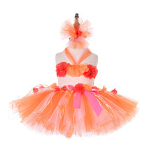 Baby Photography Solid Mini Skirt Orange Princess Ariel Girls Winter Clothes Three Pieces Kids Tutu Sets