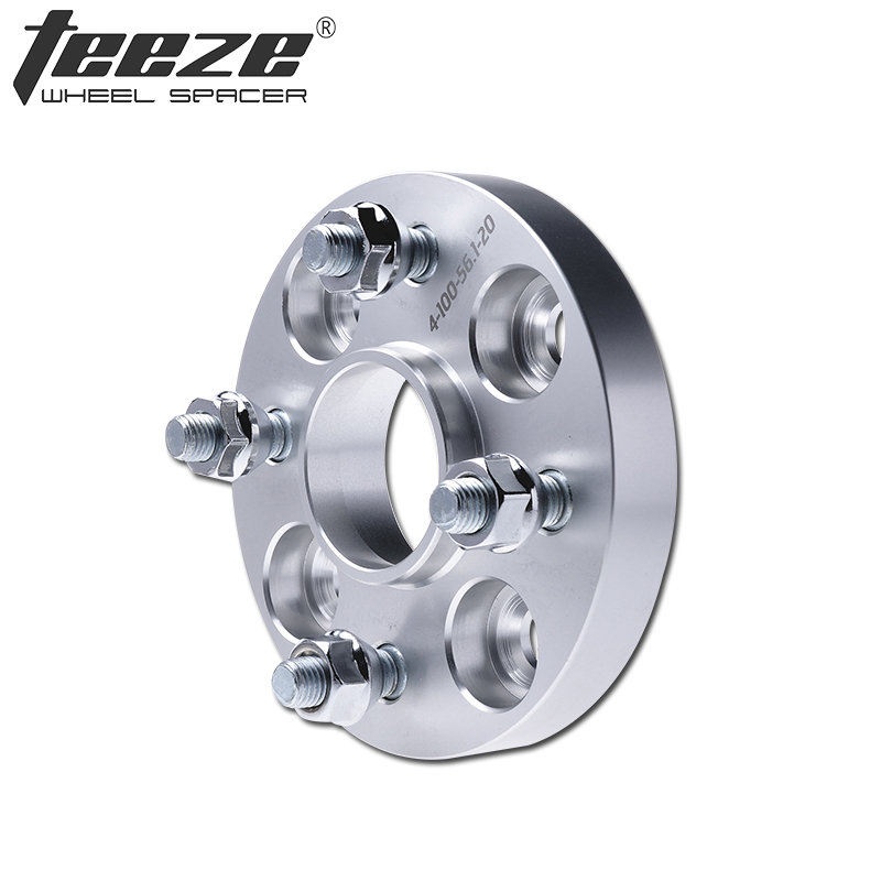 TEEZE-(1PC) Car styling Wheel Spacer 4x100 CB 56.1mm for CRX Accord Civic Aluminum alloy wheels adapter Espaceur de roue high polish wheel spacer with step 4x100 57 1 for jetta & santana 15mm thickness