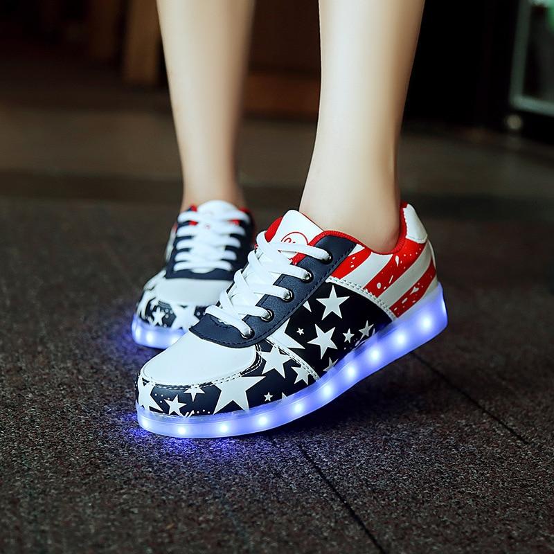 25-35 سایز 7 رنگ کفش منجر به کفش کودکان درخشان کفش های درخشان پسران و دختران سبد منجر کفش ورزشی نورانی enfants