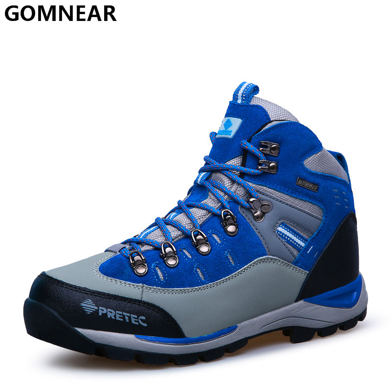 ФОТО GOMNEAR Men's Hiking Shoes Outdoor Athletics Fishing Tourism Sport Shoes Breathable Trekking Hunting Mountain Sneakers For Male
