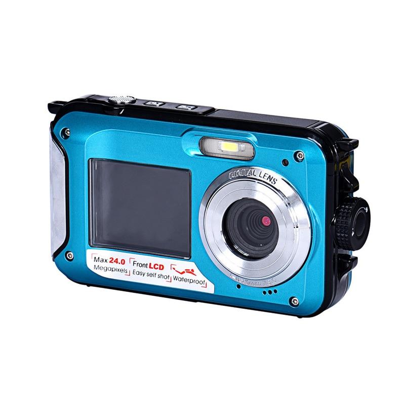Double Écran Étanche Caméra 24MP 16x Zoom Numérique Plongée Caméra