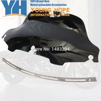 Chrome Slotted Stock Batwing Trim 8 Black Wave Windshield Fits Fits For Harley Touring Electra Glide