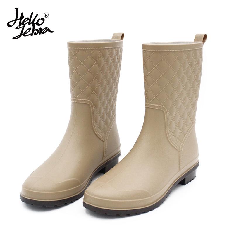 все цены на Hellozebra Women Rain Boots Grid Plus Cashmere Lady Water Shoes Non-slip Middle Tube Rain Shoes Women's Warm Water Boots 2018 онлайн