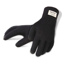 Men Knitted Gloves Winter Touch Screen High Quality Male Thicken Warm Wool Cashmere Solid Gloves Men Mitten Business Autumn