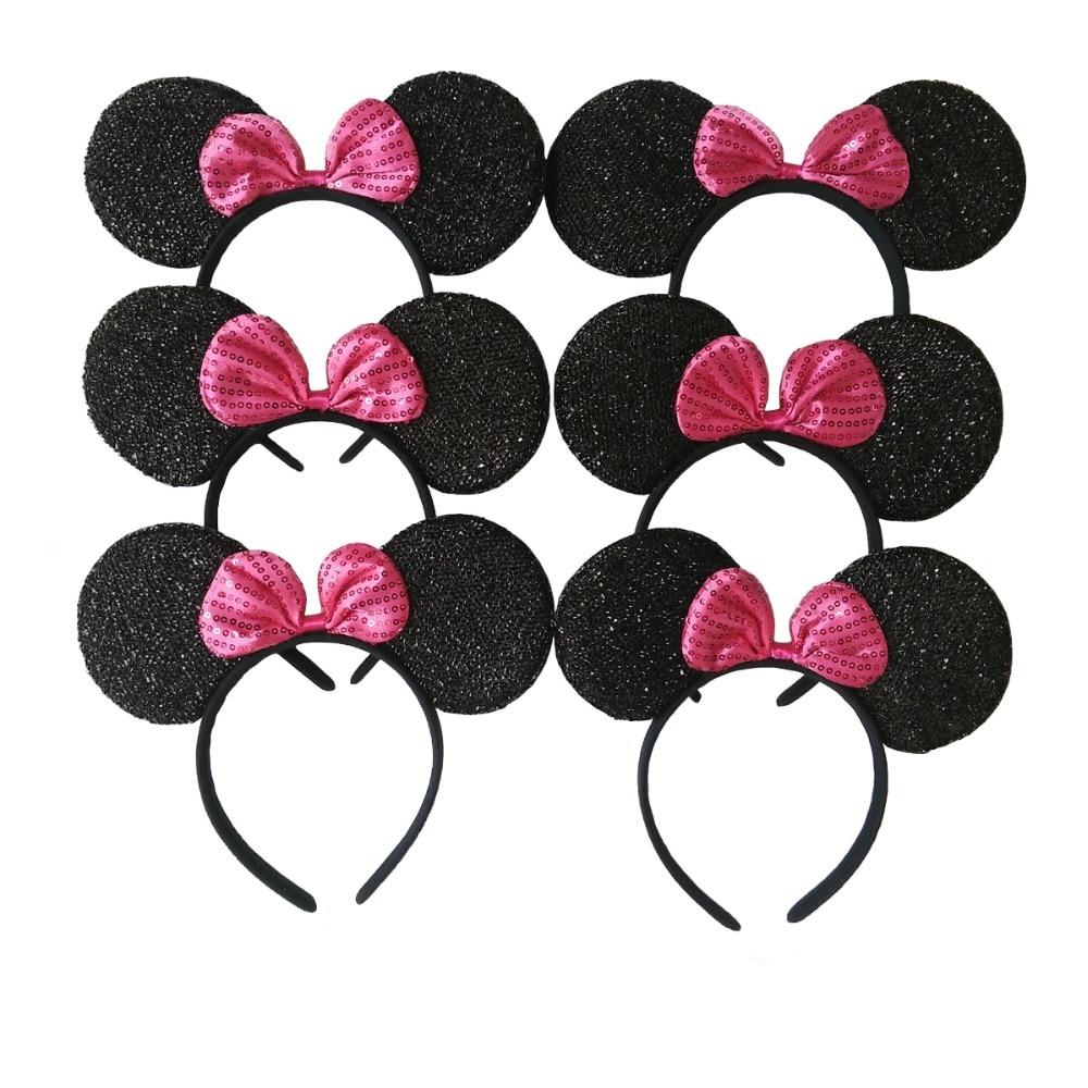 6 pcs Aksesoris Rambut Minnie / Mickey Ears Padat Black & Bow - Aksesori pakaian - Foto 4