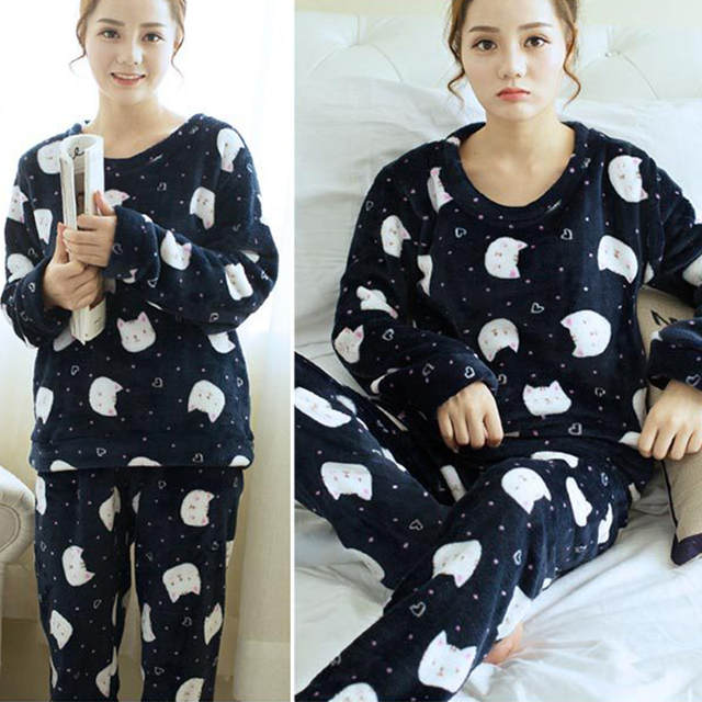 Women s Ladies Cotton Flannel Pyjama PJ Set animals cat bird print Sleepwear  New Long Pyjama 769baff30f