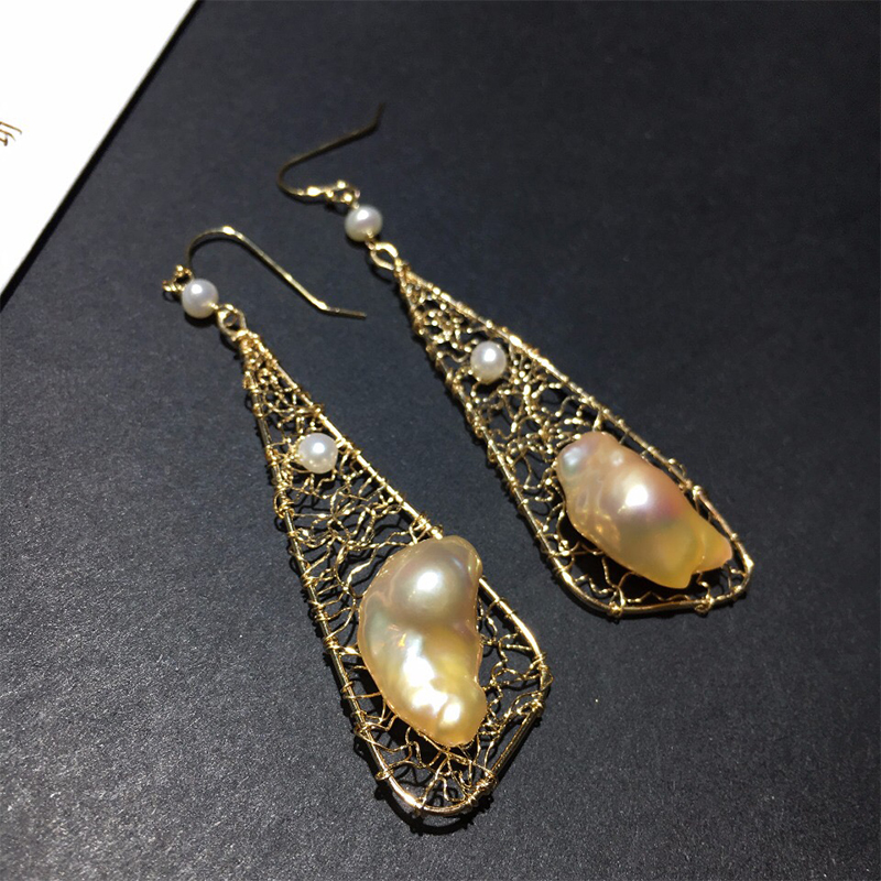 ANI 14K Roll Gold Fashion Handmade Women Earrings Southern Pacific Ocean Gold Pearl Drop Earring Roll Gold Dangle aretes in Earrings from Jewelry Accessories