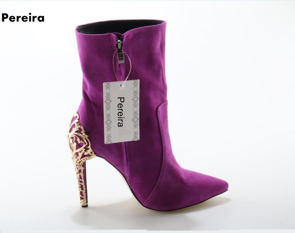 Weekly new arrivals appliques purple woman winter boots pointed-toe thin high heel mid-calf woman slim shoes suede woman boots цена